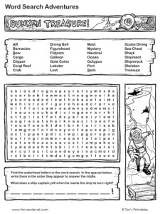 sunken-treasure-word-search-black-and-white