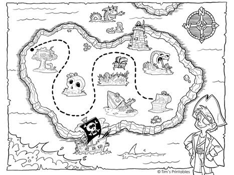 treasure map coloring page