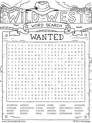Wild West word search