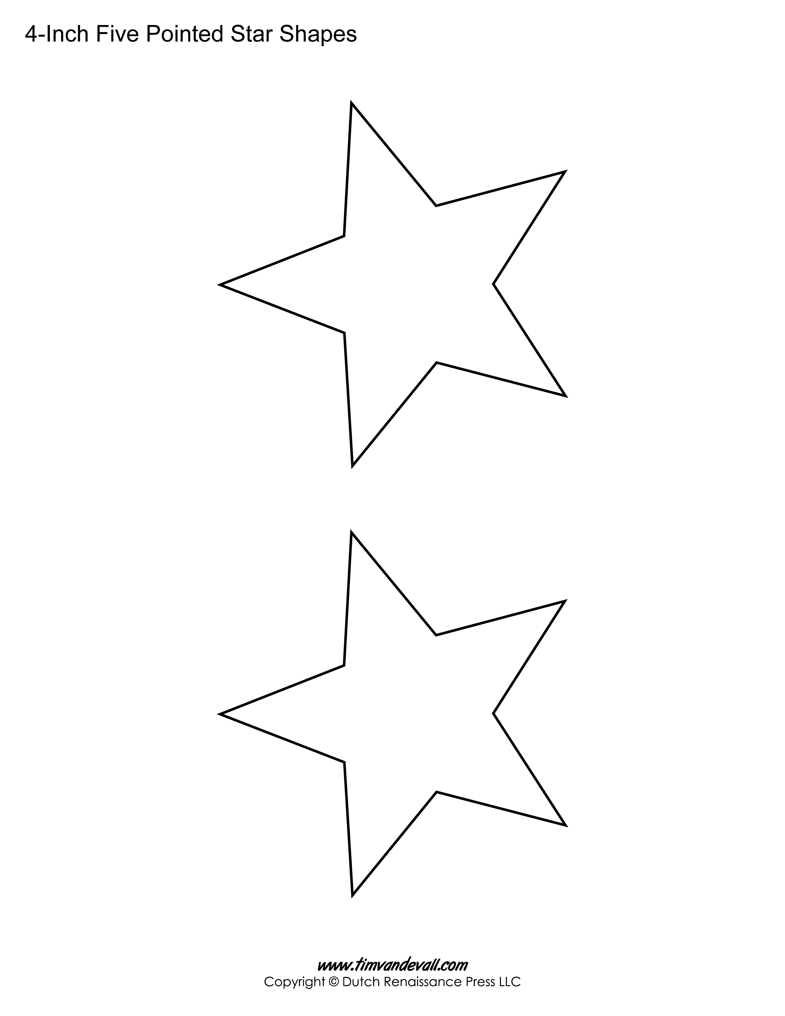 Printable Five Pointed Stars