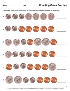 Counting Coins Worksheet #5