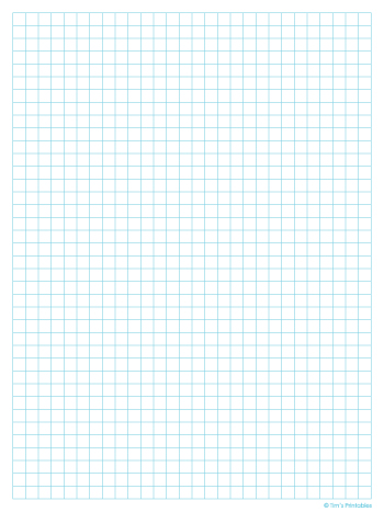 Graph Paper Template - Quarter Inch, Light Blue Lines