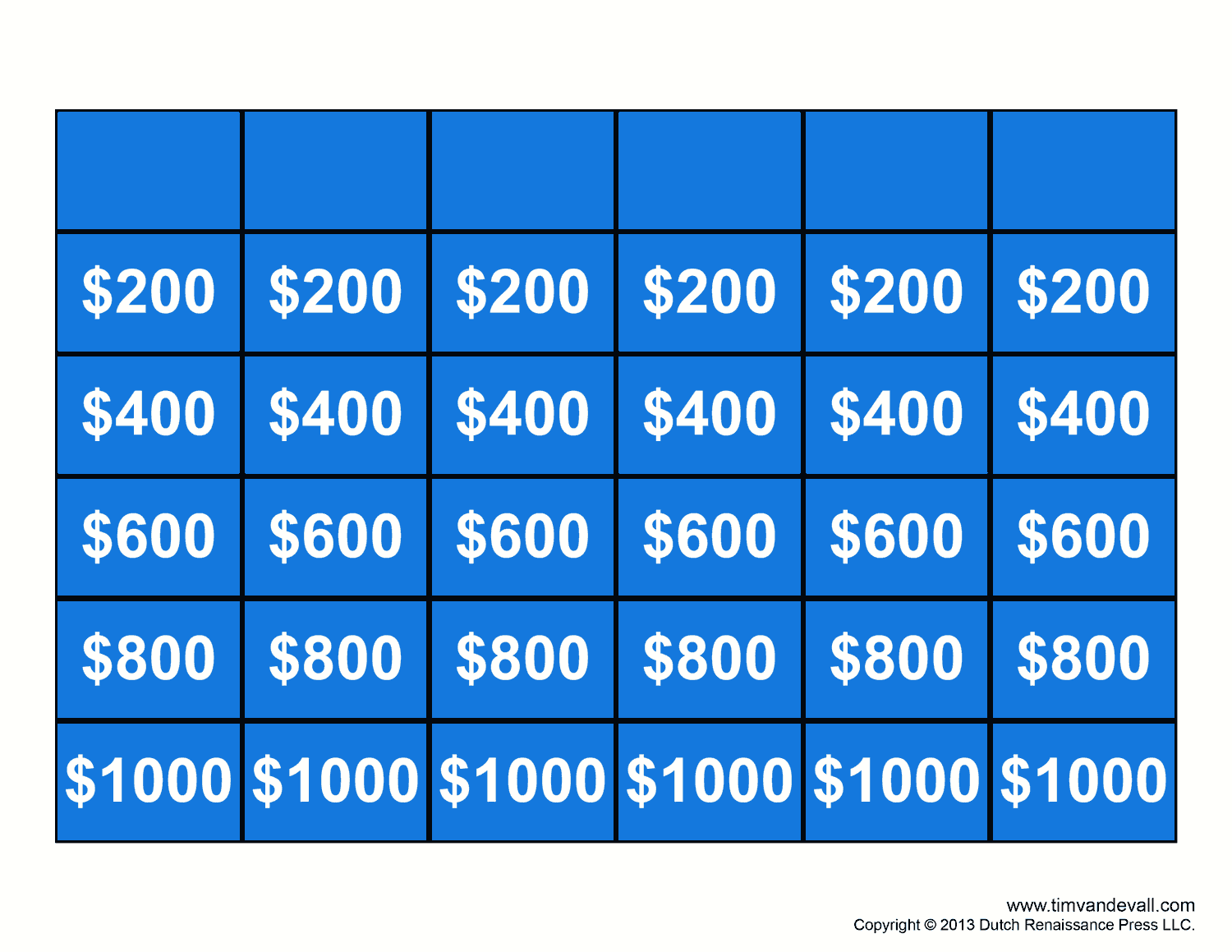 After Your Game Contestants Have Answered A Specific Question Cross Through That Box So You Know Which Questions Already Been Asked Jeopardy Template