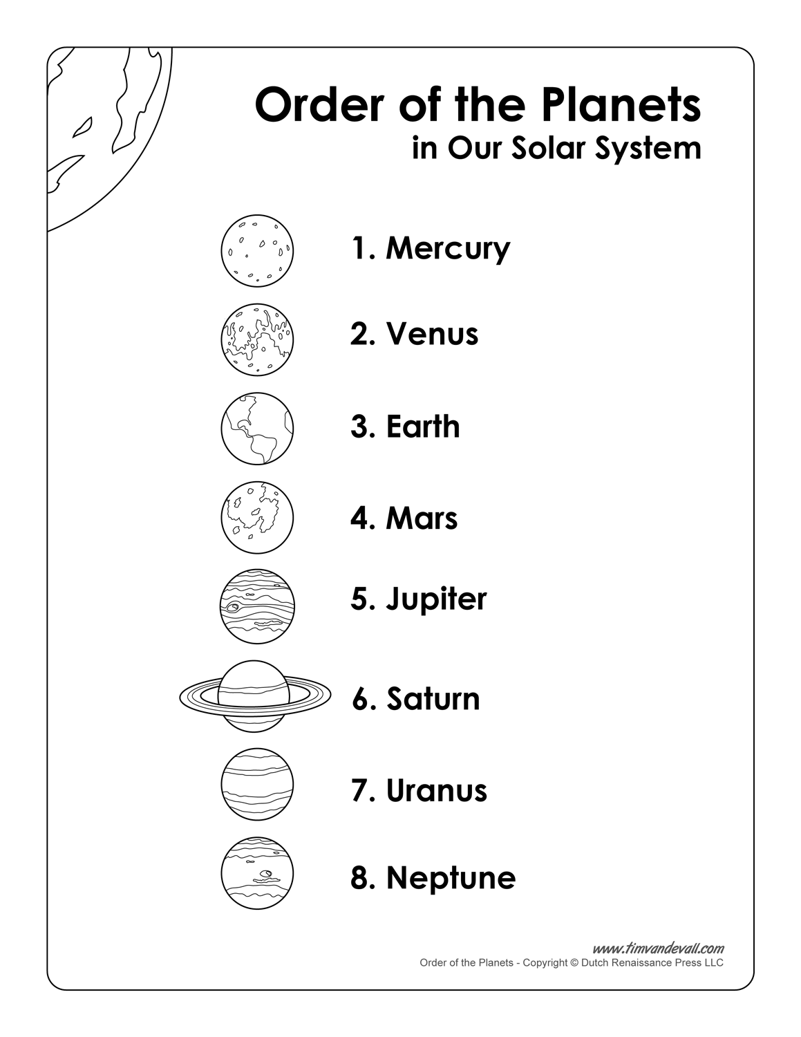 hight resolution of List of Planets in Order   Printable Science Poster for Kids