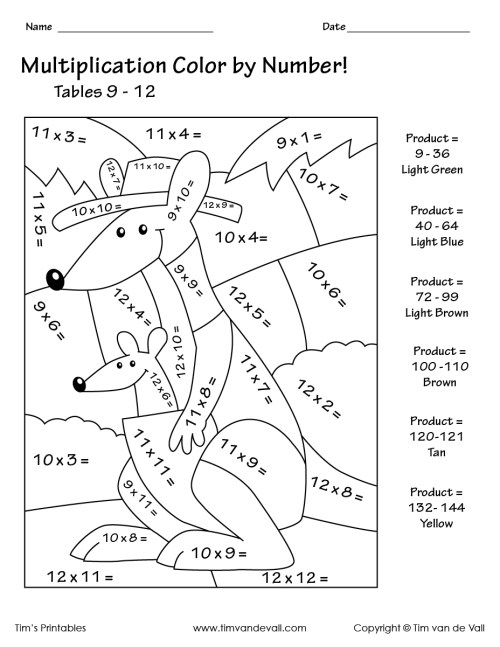 small resolution of Printable Color by Number Multiplication Worksheets PDF - Tim's Printables