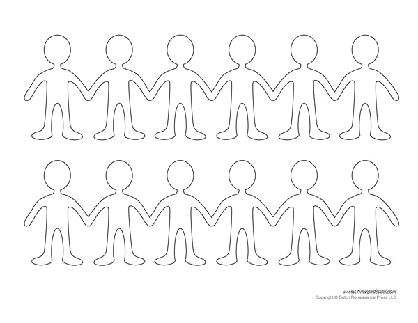 Paper Doll Chain Template
