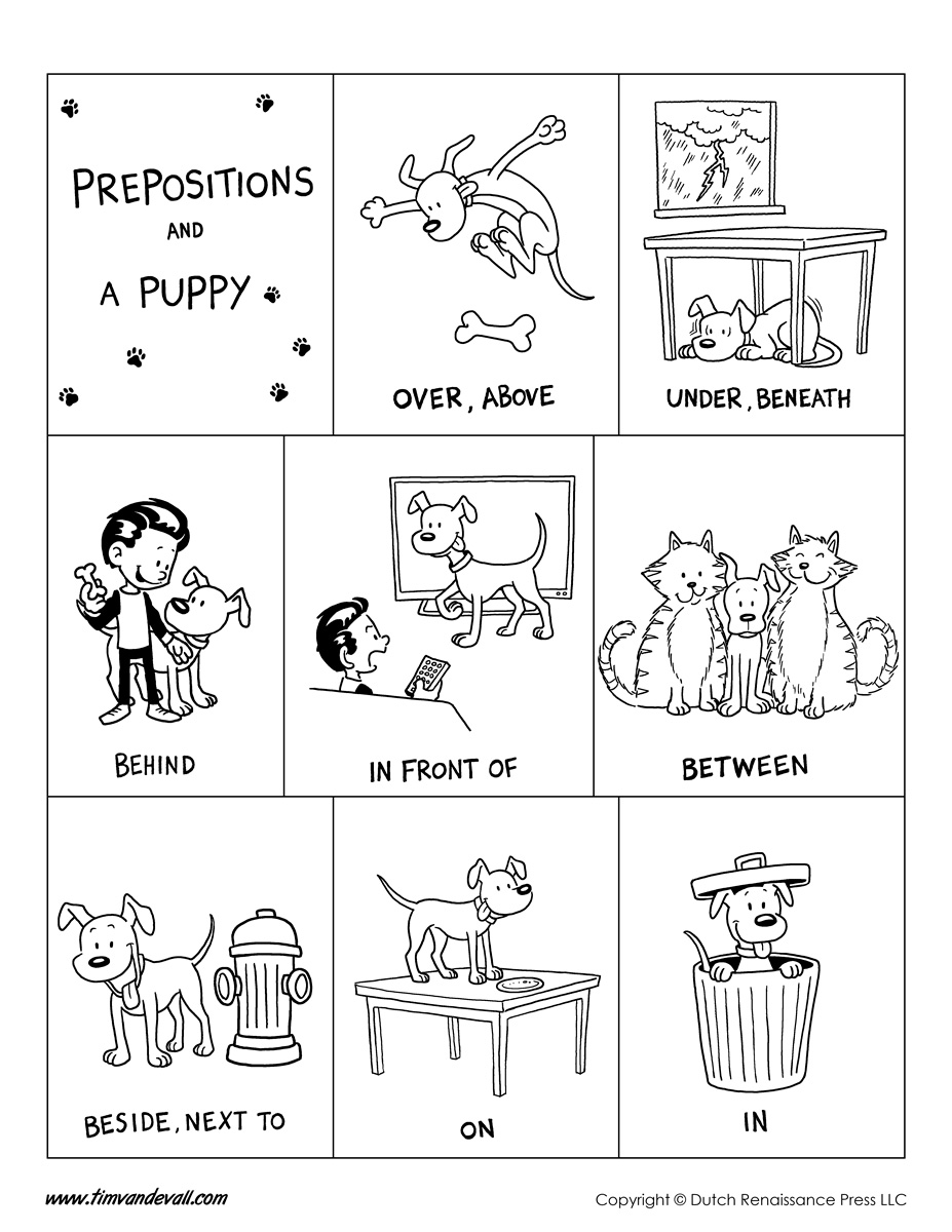 Prepositions Poster Bw