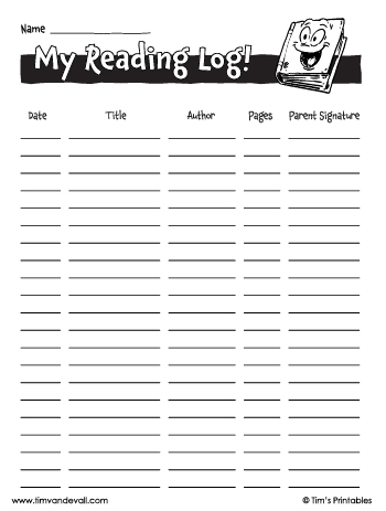 reading log for kids