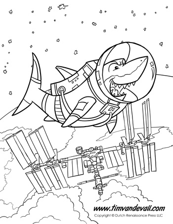 Animals in Space! Four Printable Coloring Pages