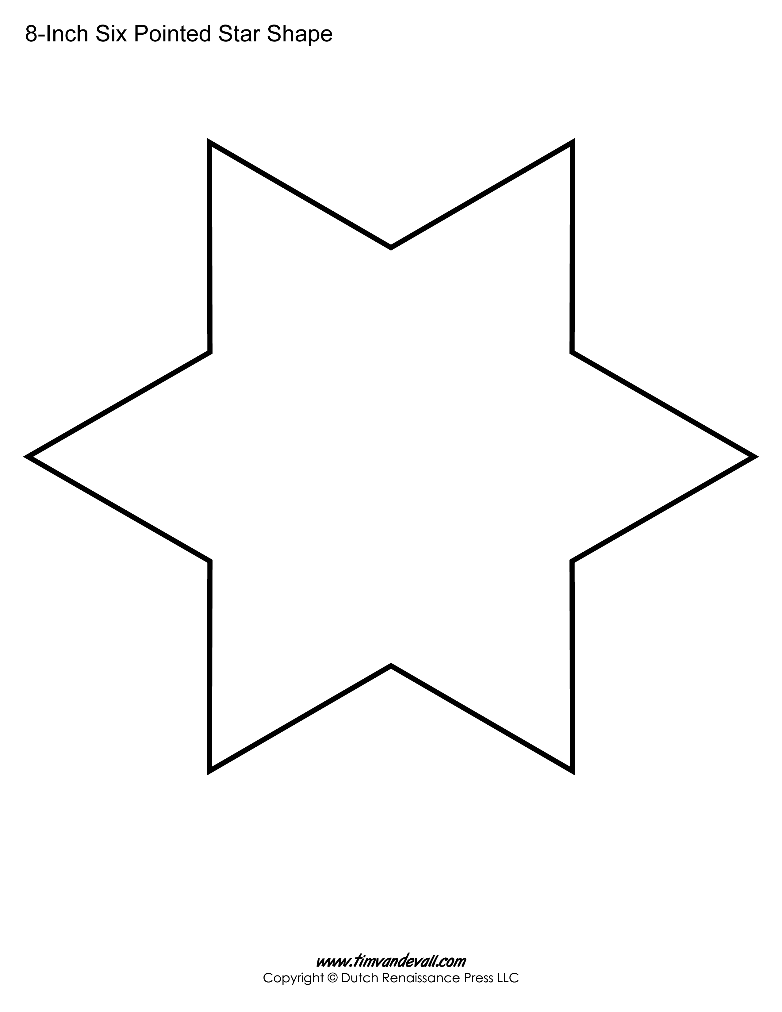 Six sided star template