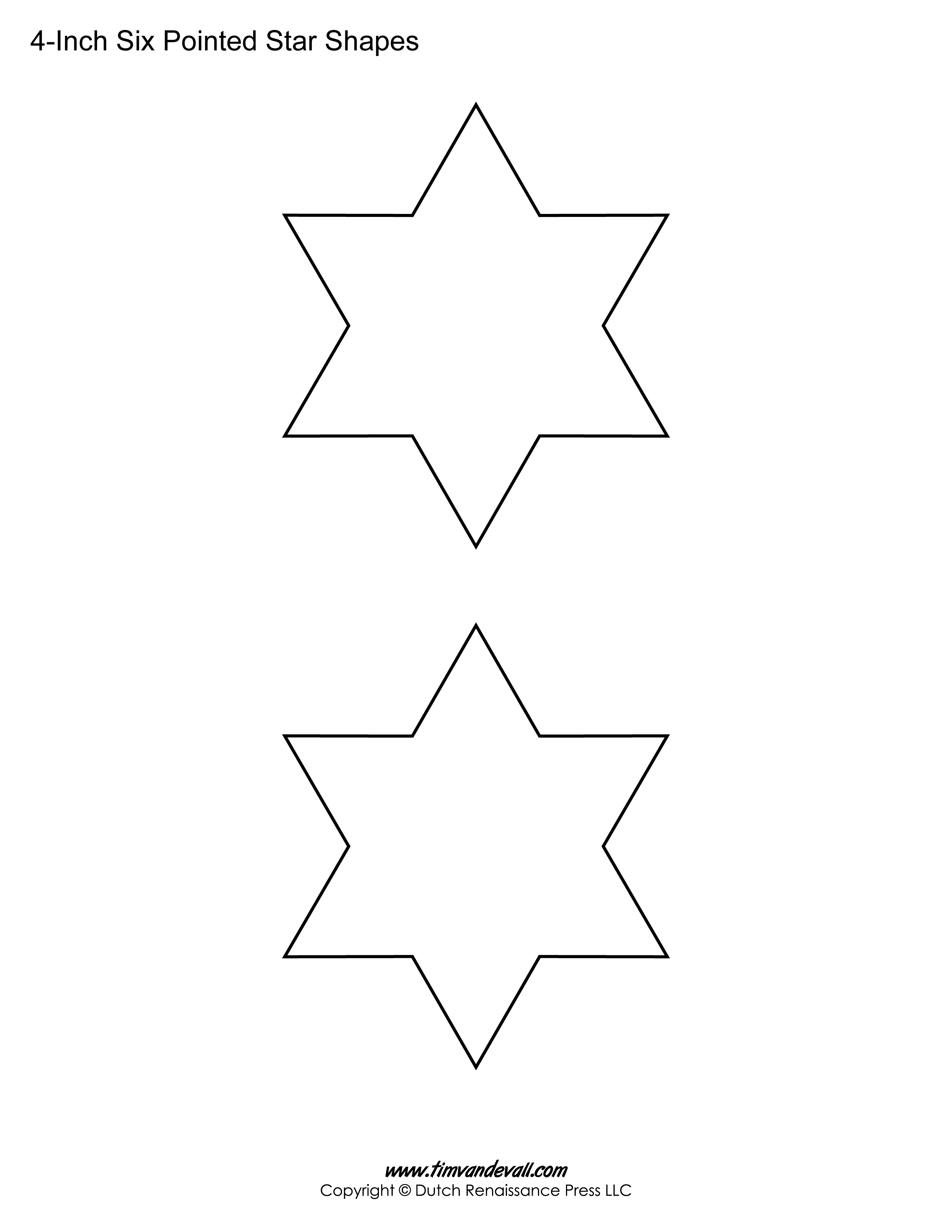 Printable Six Pointed Star Templates