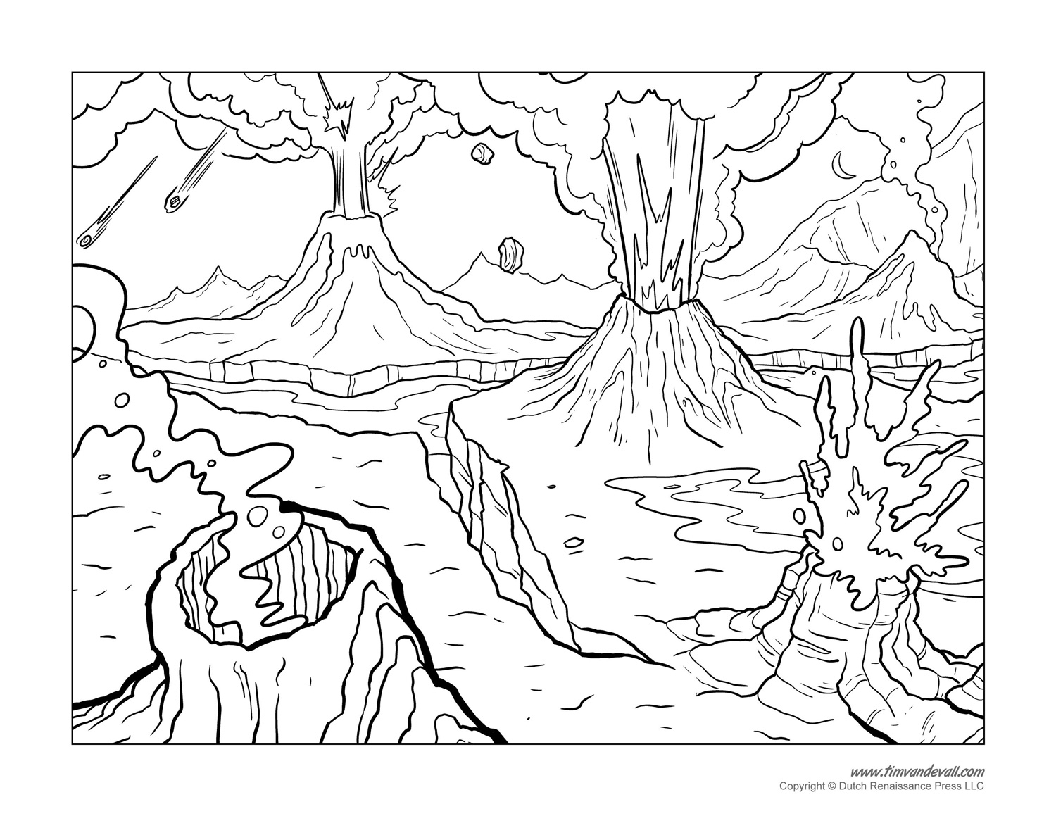 Free Volcano Coloring Page