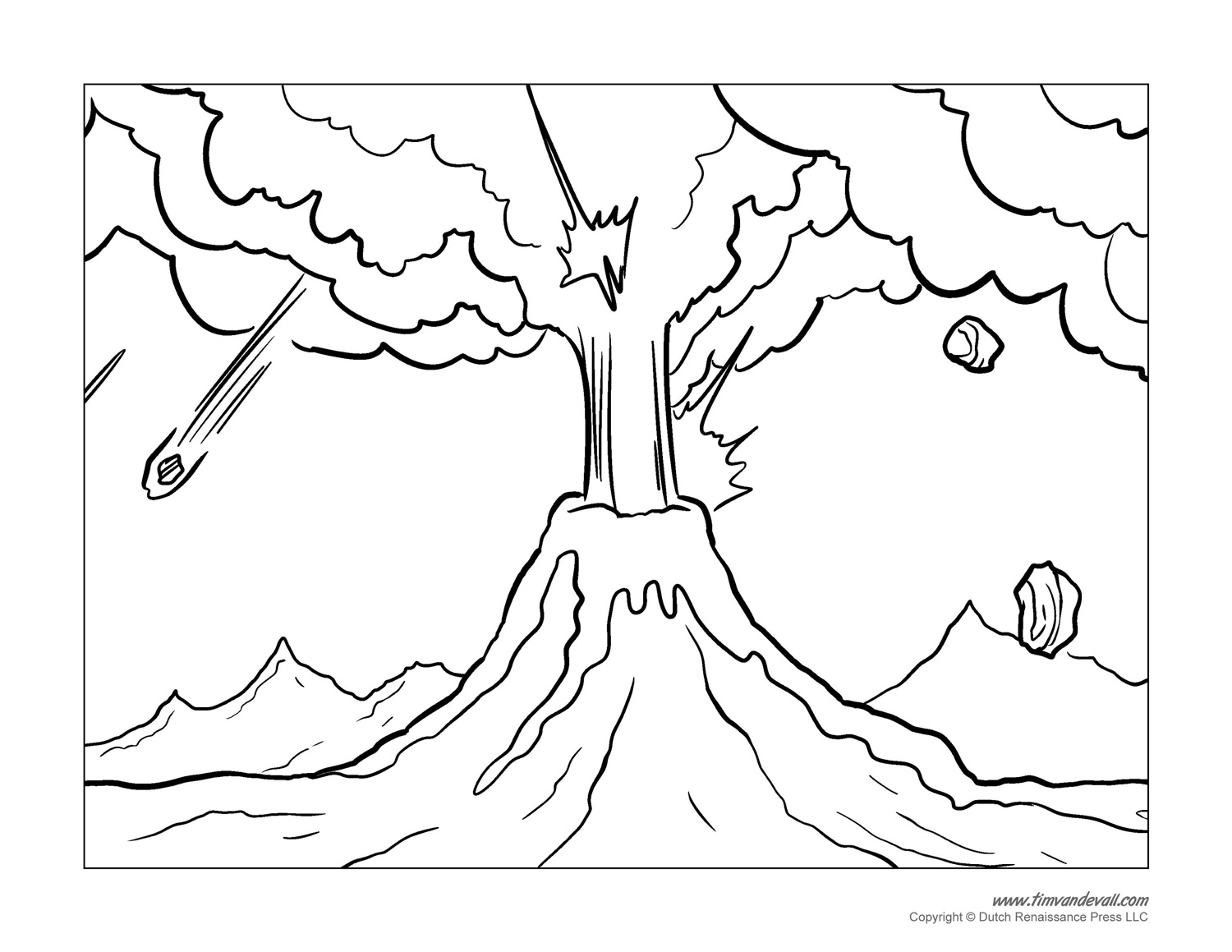 hight resolution of Volcano Coloring Pages