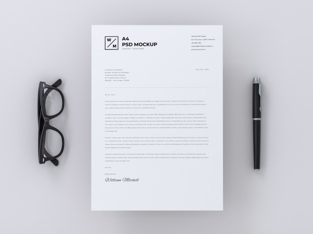 a4 letterhead mockup on minimal background psd file premium download