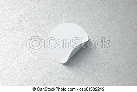 blank white round adhesive sticker mockup on textured wall 3d