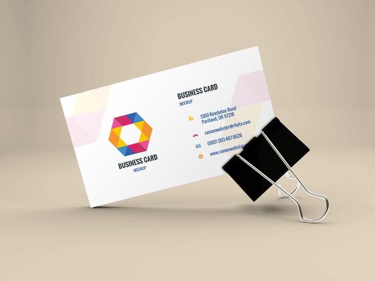 business card mockup in binder clip graphberry