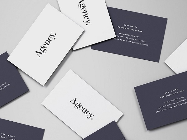 business card mockup spread