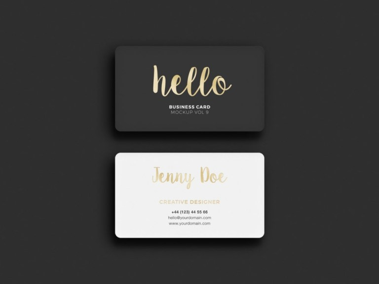 business card rounded corners free mockup