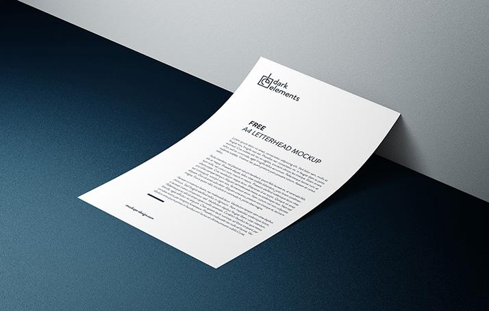 dark elements a4 letterhead mockup mockups design free premium