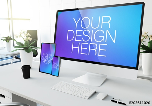 desktop computer tablet and smartphone on desk mockup buy this