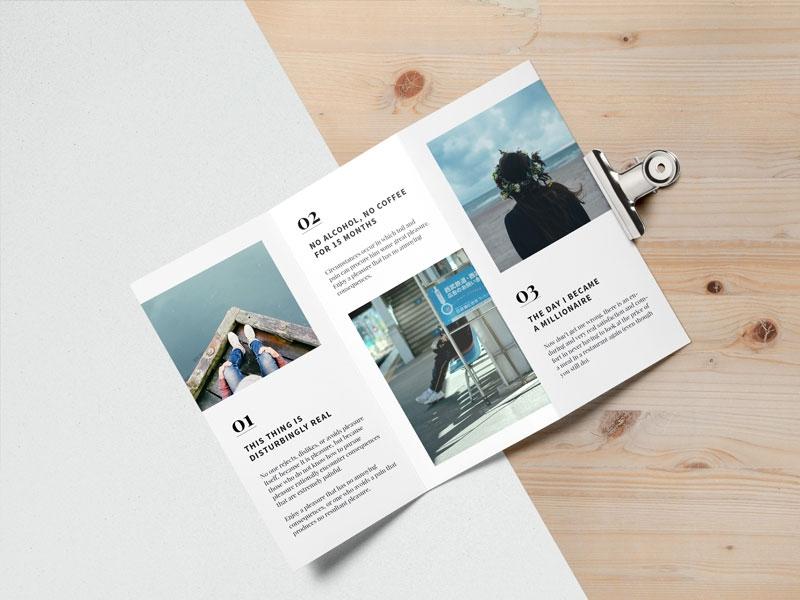editorial tri fold brochure mockup free psd mockups