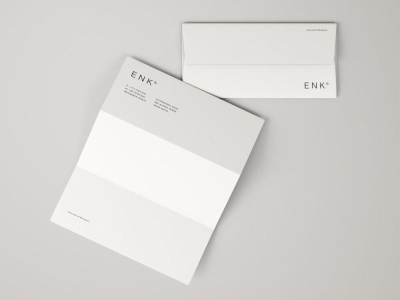 envelope and a4 folded letterhead free mockup