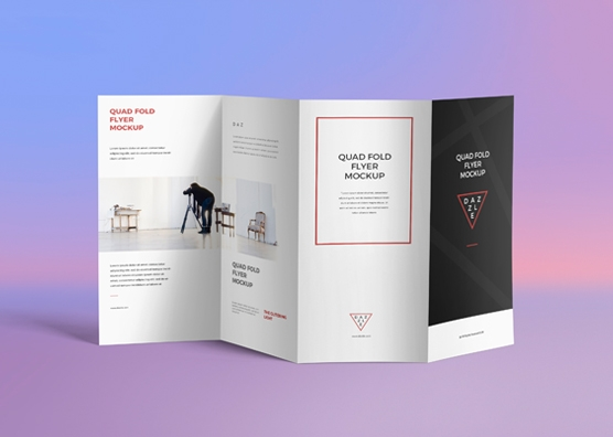 free 4 fold brochure mockup zippypixels