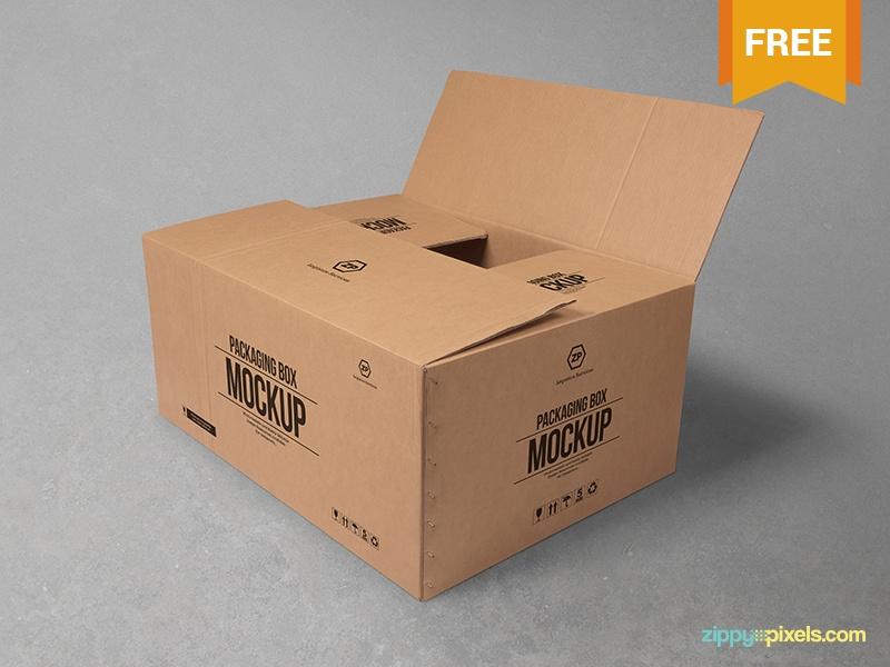 free cardboard box mockup zippypixels on dribbble