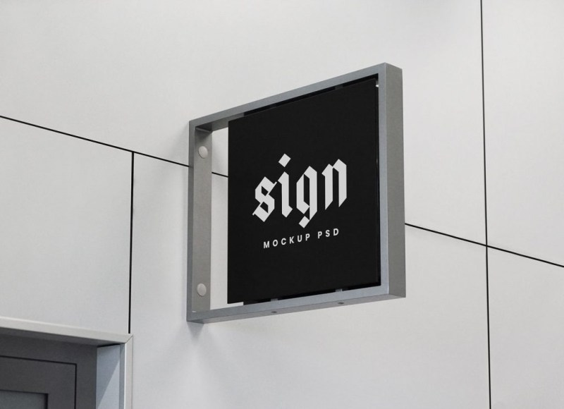 free indoor wall mounted signage mockup psd good mockups