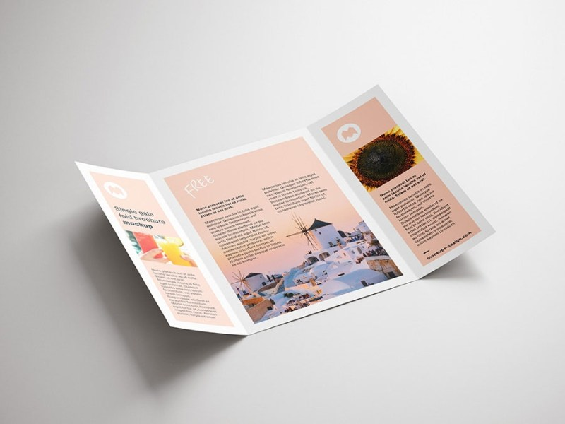 free single gate fold brochure mockup mockuptree