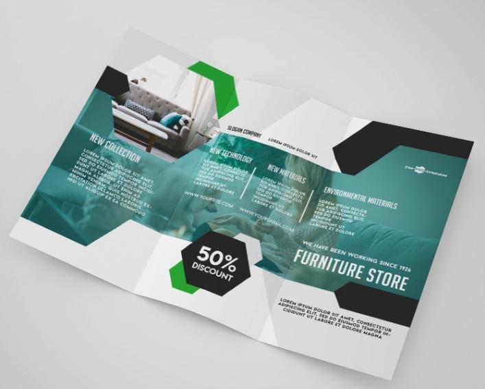 furniture store tri fold brochure mockup psd template mockup free
