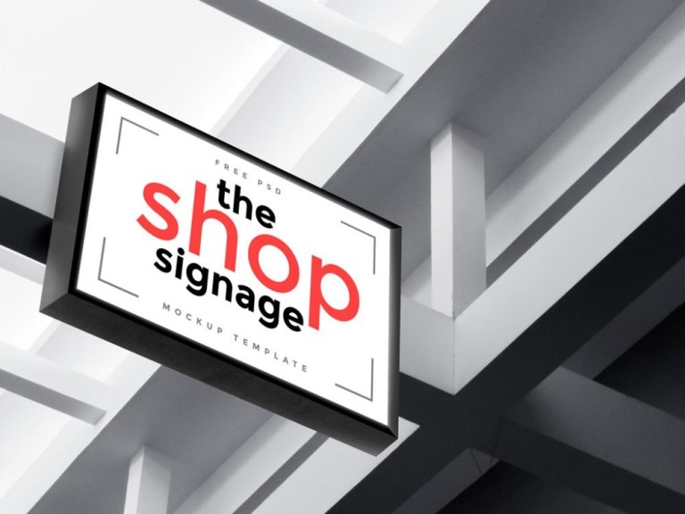 illuminated shop sign mockup mockupworld