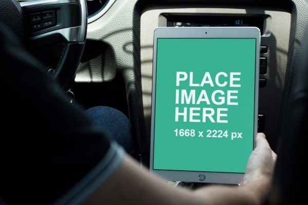 ipad pro in car from do you mockup
