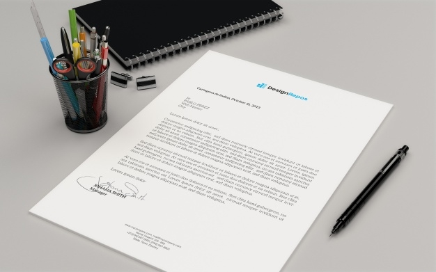 letterhead mockup with book psd file premium download