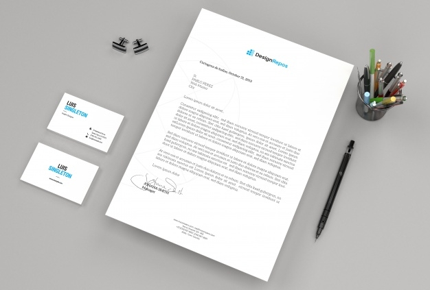 letterhead mockup with business cards psd file premium download