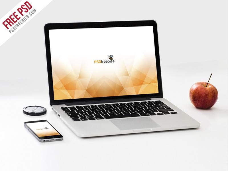 macbook pro and phone mockup template psd psdfreebies