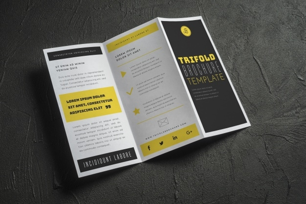 open trifold brochure mockup psd file free download