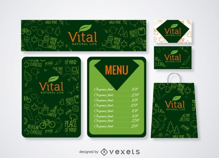 restaurant menu and branding mockup in green vector download