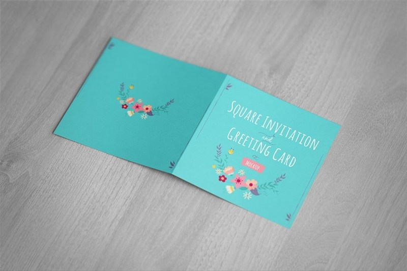 square invitation greeting card mockup free design resources