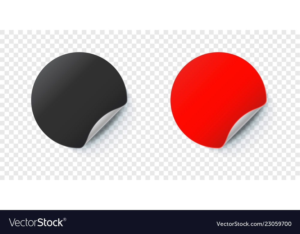 sticker mockup round folded paper label royalty free vector