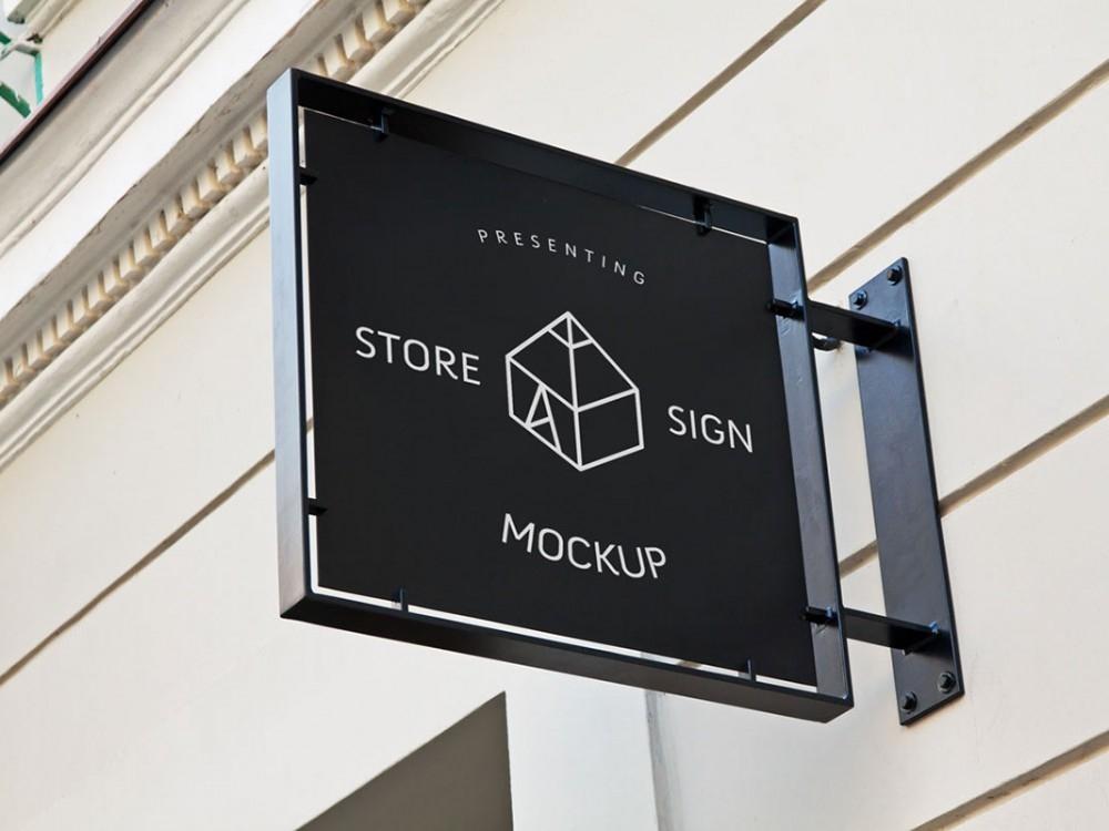 store sign mockup mockupworld