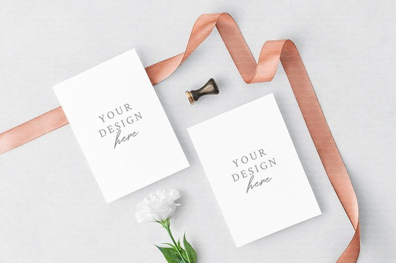 wedding invitation mockup greeting cards mockup floral etsy