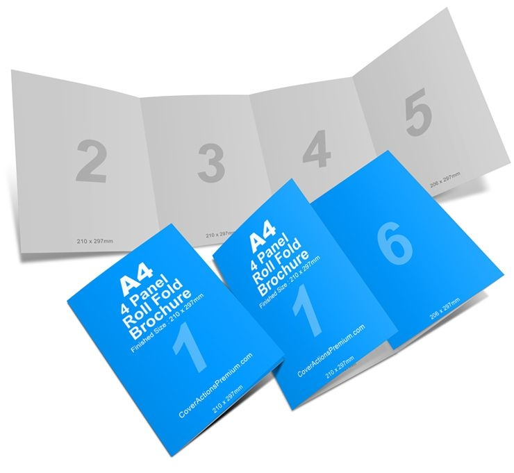4 panel a4 roll fold brochure mockup business brochure template