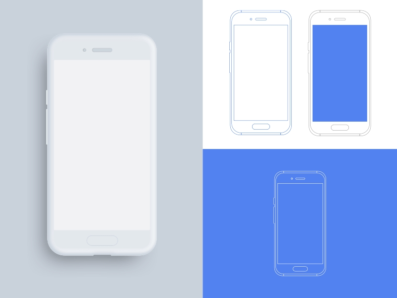 android device outline mockups sketch freebie download free