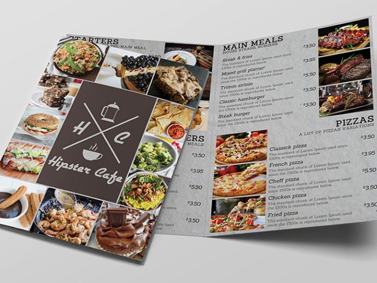 cafe bi fold menu free mockup mockup free downloads
