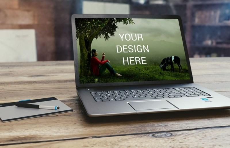 creative silver laptop mockup mockupblast
