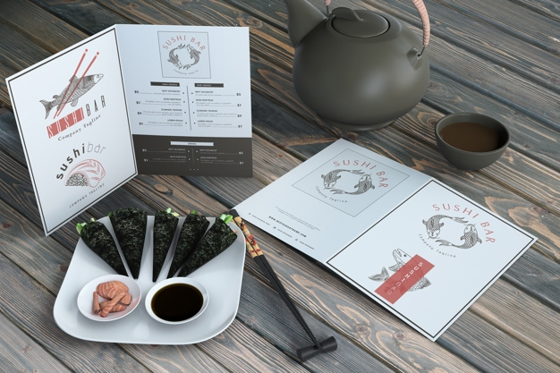 creative sushi bar menu mockup psd file free download