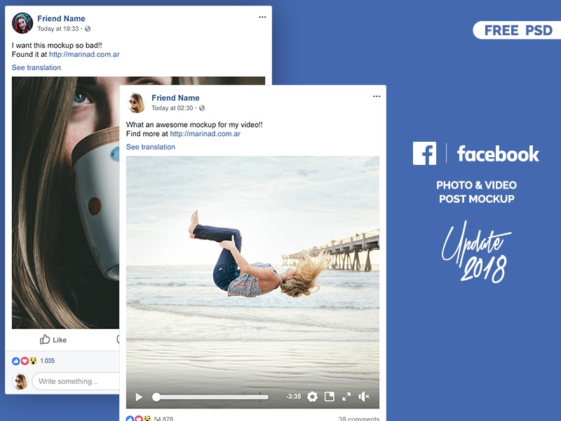 facebook 2018 post mockup free psd marina on dribbble