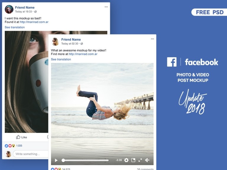 facebook 2018 post mockup free psd marina on dribbble