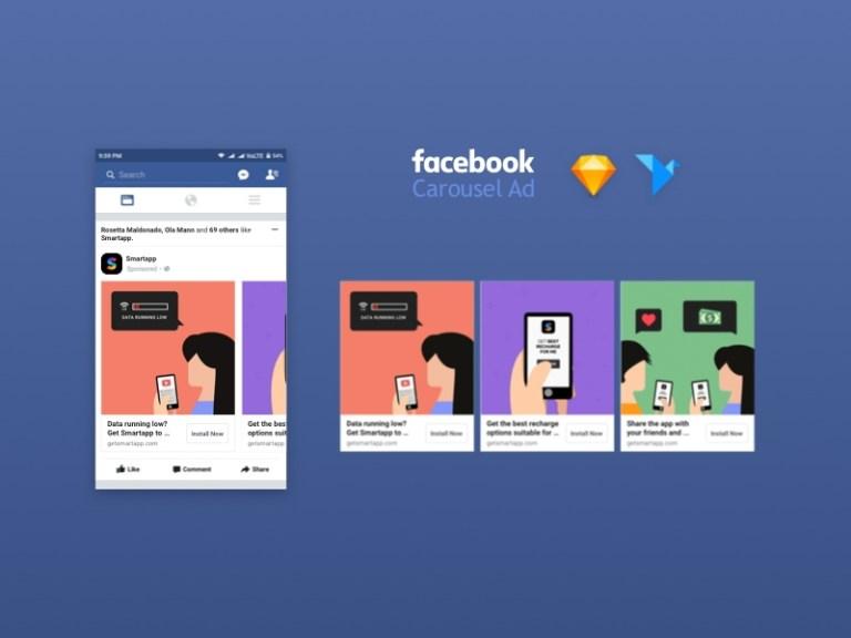 facebook carousel ad mockup freebie download sketch resource